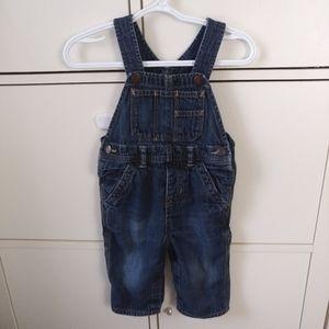 Toddler boy dark wash denim overalls 18 months
